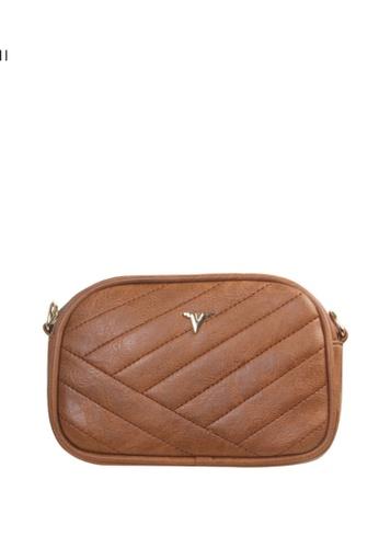 Verchini brown Verchini Quilted Patent Crossbody Bag 0F36DAC5FFC386GS_1