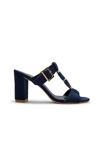 SEMBONIA blue Suede Heeled Sandal (Dark Blue) SE598SH0S065MY_1