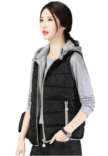 A-IN GIRLS black and grey Fashion Color Matching Vest Cotton Jacket EEF8FAAC9EA66AGS_1