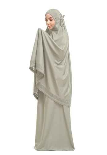 SITI KHADIJAH green Siti Khadijah Telekung Modish Cadina in Ash Green (Modern Fit) E0891AAA08FCC8GS_1