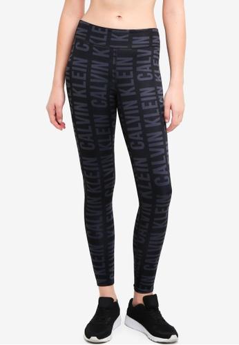 Calvin Klein black AOP Fl Leggings - Calvin Klein Performance 10CC1AAD49A9A8GS_1
