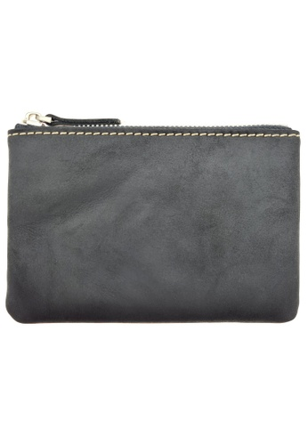 LUXORA black and grey The Ninja Co. Compact Zipper Wallet - Full Grain Leather Cowhide - Coin Card Purse Men Women Gift Black FEC69ACEDCB88BGS_1