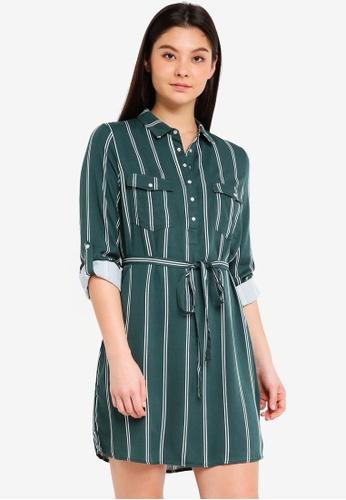 Cotton On green Woven Tammy Long Sleeve Shirt Dress 0A4B4AA9C984B9GS_1
