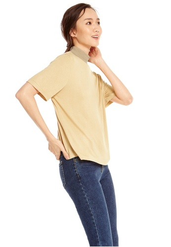 Pomelo brown Lou Mock Neck Tee - Brown 3BE8EAA4F2A02AGS_1