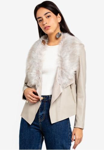 Dorothy Perkins beige Neutral Faux Fur Waterfall Jacket 9FD33AA0426E0BGS_1