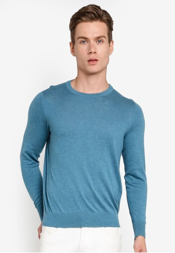 Gay Giano blue Extra Fine Crew Neck Knit Sweater 9346FAA6CD2ECCGS_1