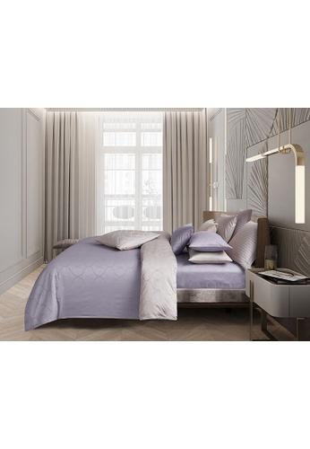 KINU grey Kinu Jacquard Theo 100% USA Cotton Sateen Fitted Sheet Set C046AHLE1F8498GS_1