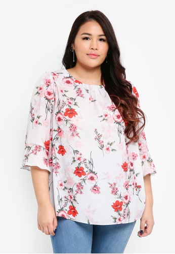 Dorothy Perkins white Billie & Blossom Curve White Shadow Floral Print Top 2D4D2AAFE2FF9DGS_1