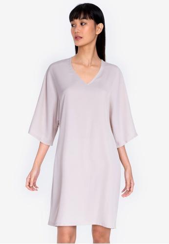 ZALORA BASICS beige Oversized Kaftan Dress 0D511AAEBB744AGS_1
