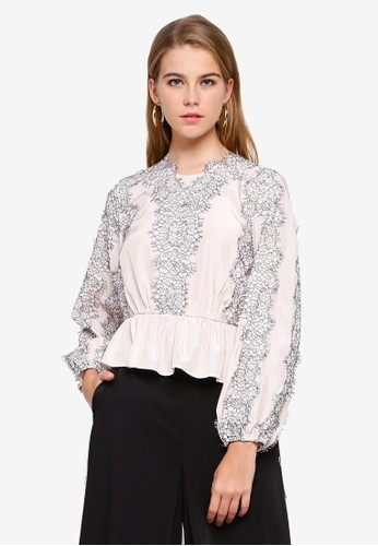 bYSI white and multi Lace Trim Peplum Blouse C3D14AA6A68952GS_1