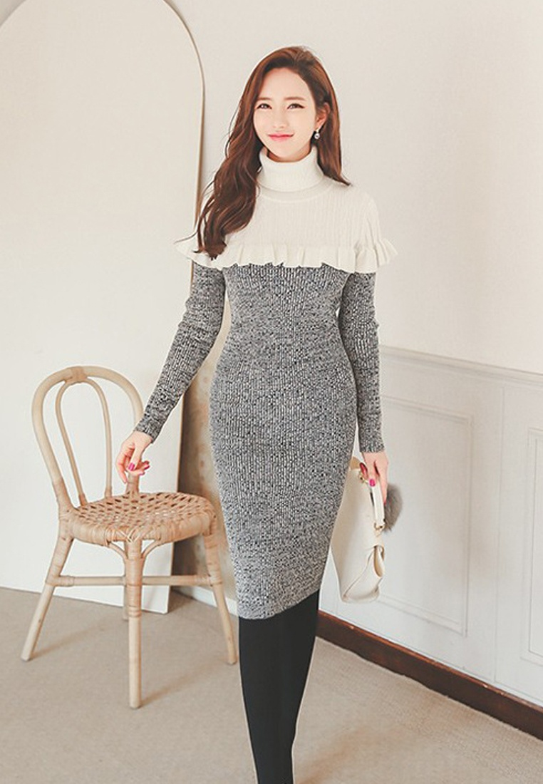 Piece Grey Neck CA011702 New Mini Roll Grey Sunnydaysweety Dress 2018 Ruffle One P1U0Rnx