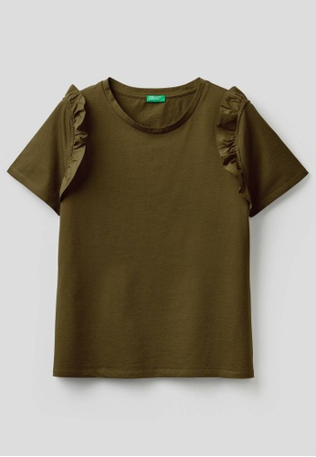 United Colors of Benetton green T-shirt in 100% cotton with Rouches 46D72AA8081121GS_1