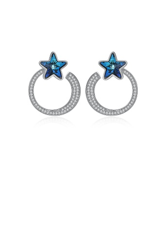 Glamorousky white 925 Sterling Silver Fashion Elegant Star Circle Earrings and Ear Studs with Blue Austrian Element Crystal 46D39ACCAAAE94GS_1
