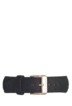 """Leather Strap """"""""Black Leather"""""""" 18mm 18mm"""