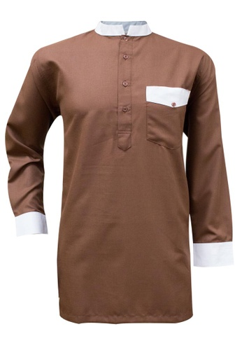 SULTAN brown SULTAN KURTA - RAEES - COLLAR FULL SLEEVES 218F0AAD6979D9GS_1