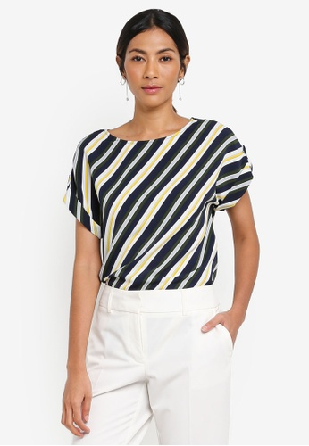 Dorothy Perkins white and navy Stripe Turn Back Tee B3616AAA635216GS_1