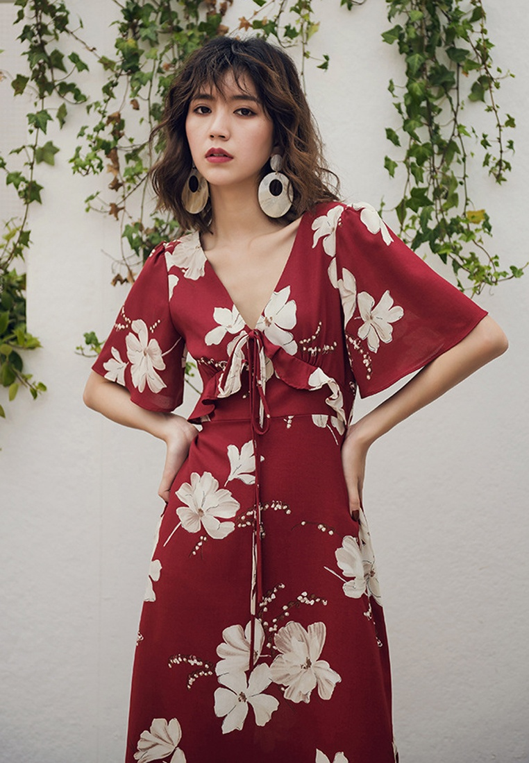 One Dress Red Long Piece A061218 Floral Red 2018 Sunnydaysweety New qYIFwSWB