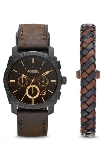 Fossil brown Fossil Machine Dark Brown Leather Watch FS5251SET FO164AC49IRIMY_1