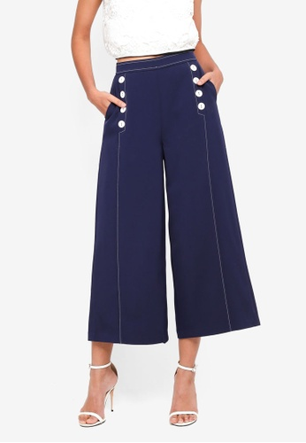 bYSI blue Button Cropped Culottes 6EE6CAA2AEE771GS_1