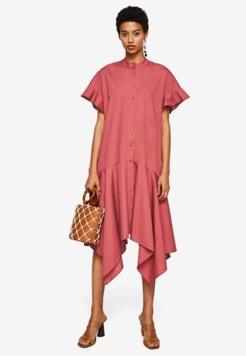 Mango red Asymmetrical Ruffle Dress DDF7BAA1581BF0GS_1