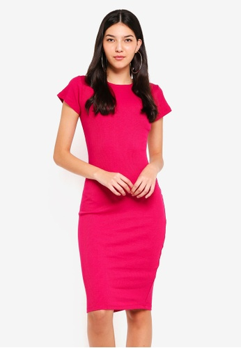 Supre red and pink Rib Midi T-Shirt Dress E4D3EAA8FF430EGS_1