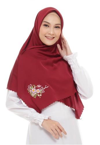 First Hijab red Diva Square Hijab In Maroon 68C1DAA5585B6BGS_1