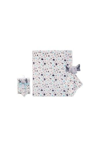 Little Kooma white Luvable Friends Plush Blanket With Sherpa Backing Terrazzo Elephant 40408 4652EKC59C8C87GS_1