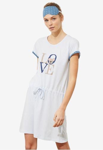 Trendyol 藍色 印花Nightdress 3949FAAA21CE3FGS_1