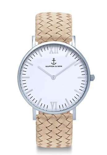 """Kapten & Son beige Campus Silver """"Sand Woven Leather"""" 73E1AAC6E1516FGS_1"""
