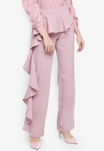 Lubna pink Side Ruffles Pants 79A74AAE067CA2GS_1