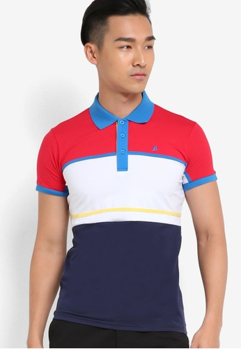 Fidelio red and multi Cut and Sew Block Polo Shirt FI826AA19NTCMY_1
