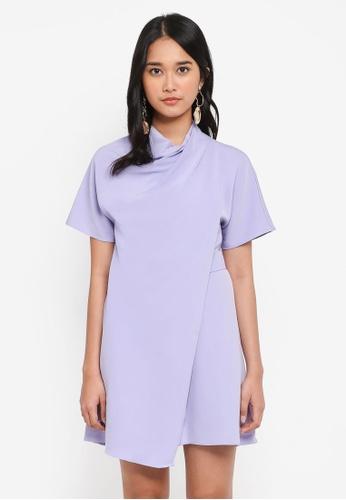 TOPSHOP purple Petite Origami Dress AE083AAA038293GS_1
