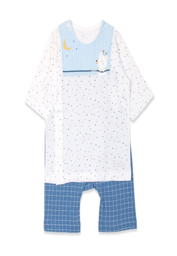 Organic mom white and blue Organic Cotton Alan Puppy  Middle Length Sleeves PJS 3A6DDKAAD4A017GS_1
