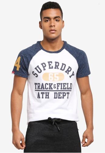 Superdry white Trackster Baseball Tee 18E29AA9842E46GS_1