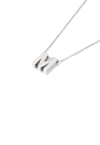 Glamorousky silver Simple Temperament English Alphabet M 316L Stainless Steel Pendant with Necklace 1069EAC6F05463GS_1
