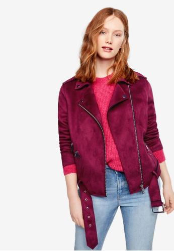 Violeta by MANGO red Plus Size Belted Biker Jacket DC40CAA23809E8GS_1