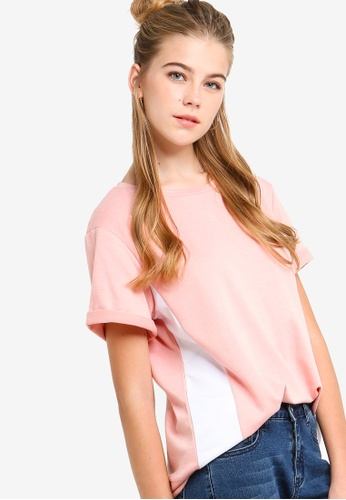 Something Borrowed pink Colorblocked Tee A2B6BAA186271FGS_1