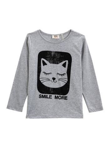 KOTON grey Cat Print T-Shirt 4F61DKAD5971CEGS_1