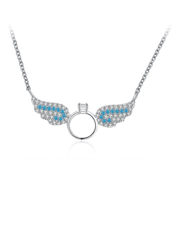 Glamorousky white 925 Sterling Silver Elegant Fashion Angel Wings Pendant Necklace with Blue Austrian Element Crystal 923A8AC6CCBD1AGS_1