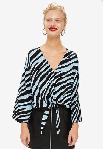TOPSHOP 藍色 Petite Zebra Tie Front Blouse FBE59AAC734383GS_1