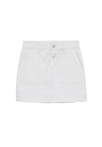 MANGO KIDS white Buttoned Denim Skirt 66D16KA7B0EE05GS_1