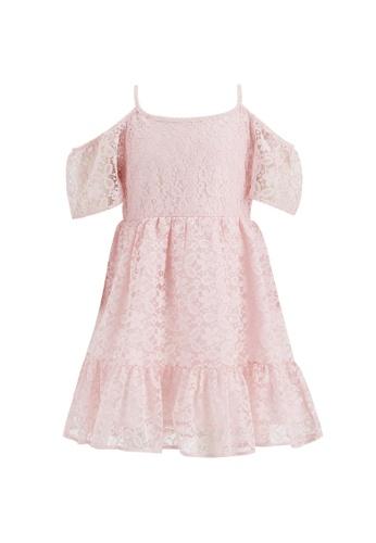 DeFacto pink Girl Strappy Ruffled Lacework Dress E04CFKAA362CF3GS_1