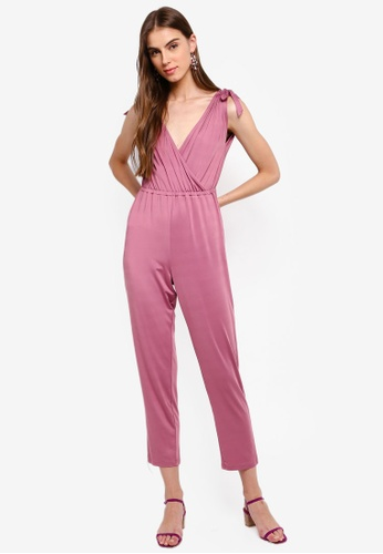 ZALORA 粉紅色 彈性針織連身褲 3D391AA252F30AGS_1