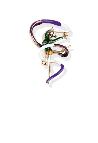 Glamorousky silver Fashion Personality Plated Gold Enamel Green Ribbon Gymnast Brooch 59048AC8102223GS_1