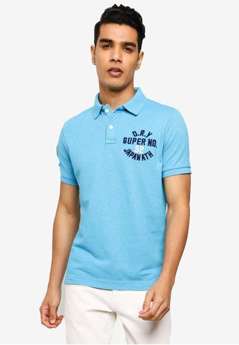 Superdry blue Classic Superstate Short Sleeve Polo Shirt DFF73AA8B9C802GS_1