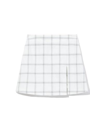 b+ab white Front slit mini skirt B7491AA4A6533AGS_1