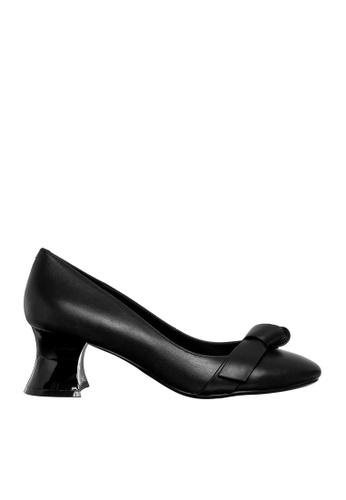 eq:iq black eqGISELLE Kidskin Mid-heel Pumps with Bow EQ351SH0FBFESG_1