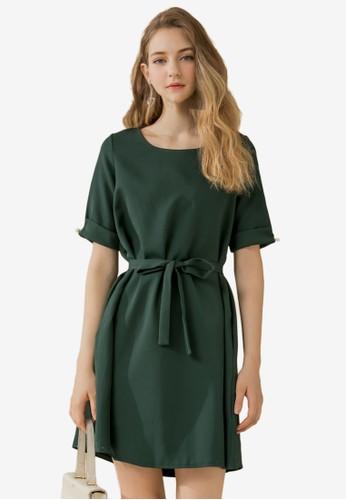 Eyescream green Waist Tie Flare Dress BC855AA59C0540GS_1