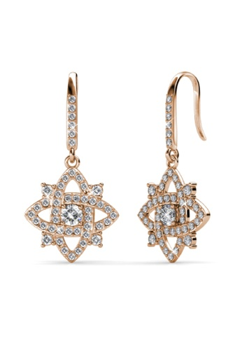 Her Jewellery gold Enchanted Cross Earrings (Rose Gold) -  Embellished with Crystals from Swarovski® C1BE0ACC94CDC5GS_1