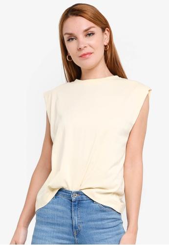 H&M yellow Sleeveless T-Shirt 02555AA69E344AGS_1